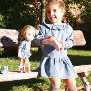 Vestido vaquero para niña y muñeca